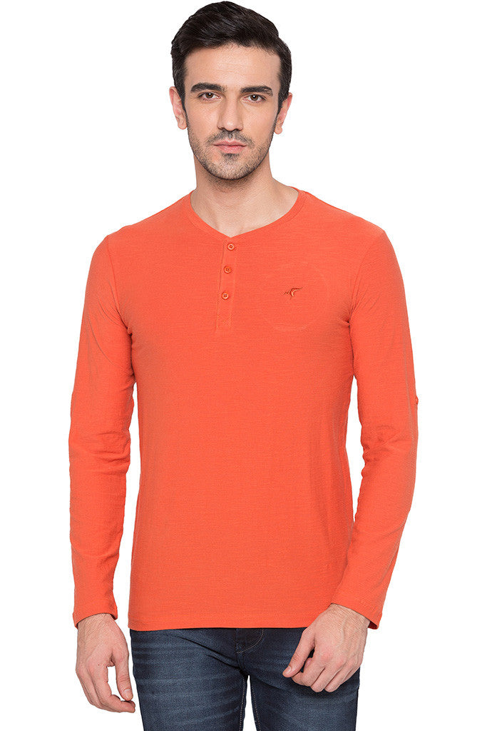 Henley Neck Orange T-shirt-1