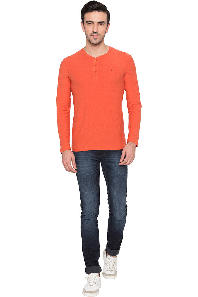 Henley Neck Orange T-shirt-2