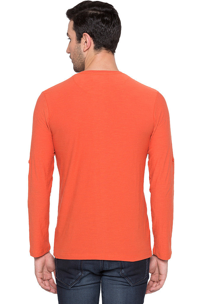 Henley Neck Orange T-shirt-3