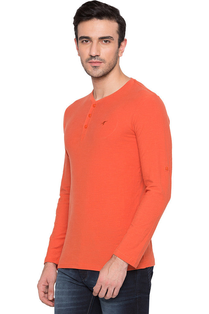 Henley Neck Orange T-shirt-4