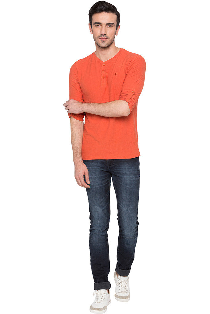 Henley Neck Orange T-shirt-6