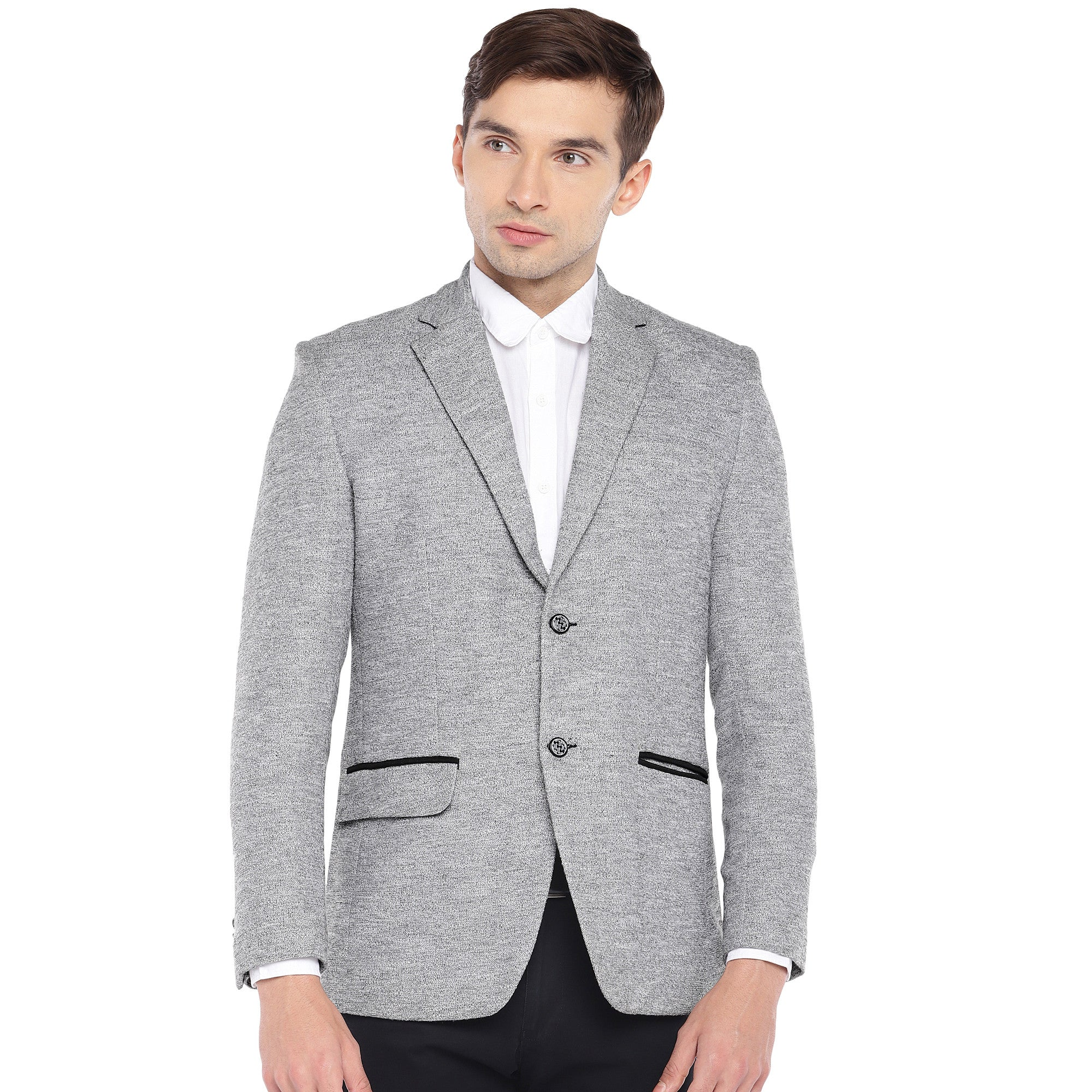 Grey Regular Fit Solid Casual Blazer-1