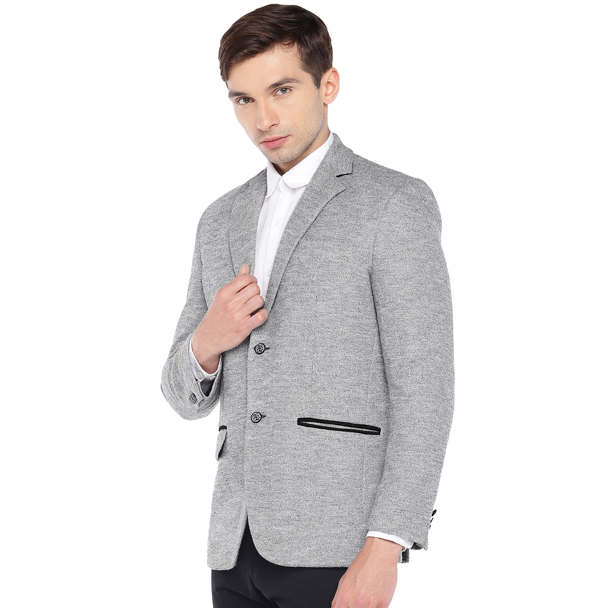 Grey Regular Fit Solid Casual Blazer-2