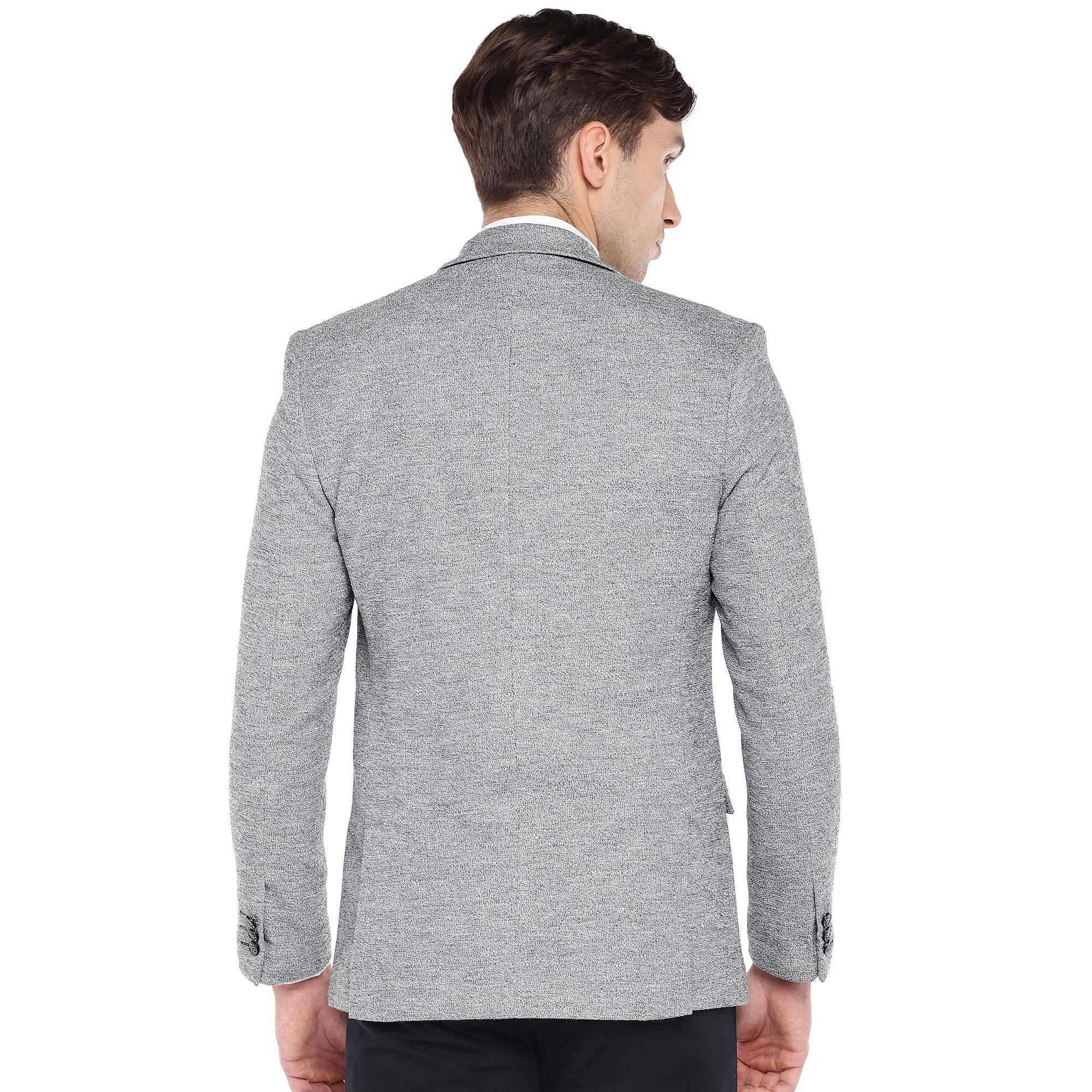 Grey Regular Fit Solid Casual Blazer-3