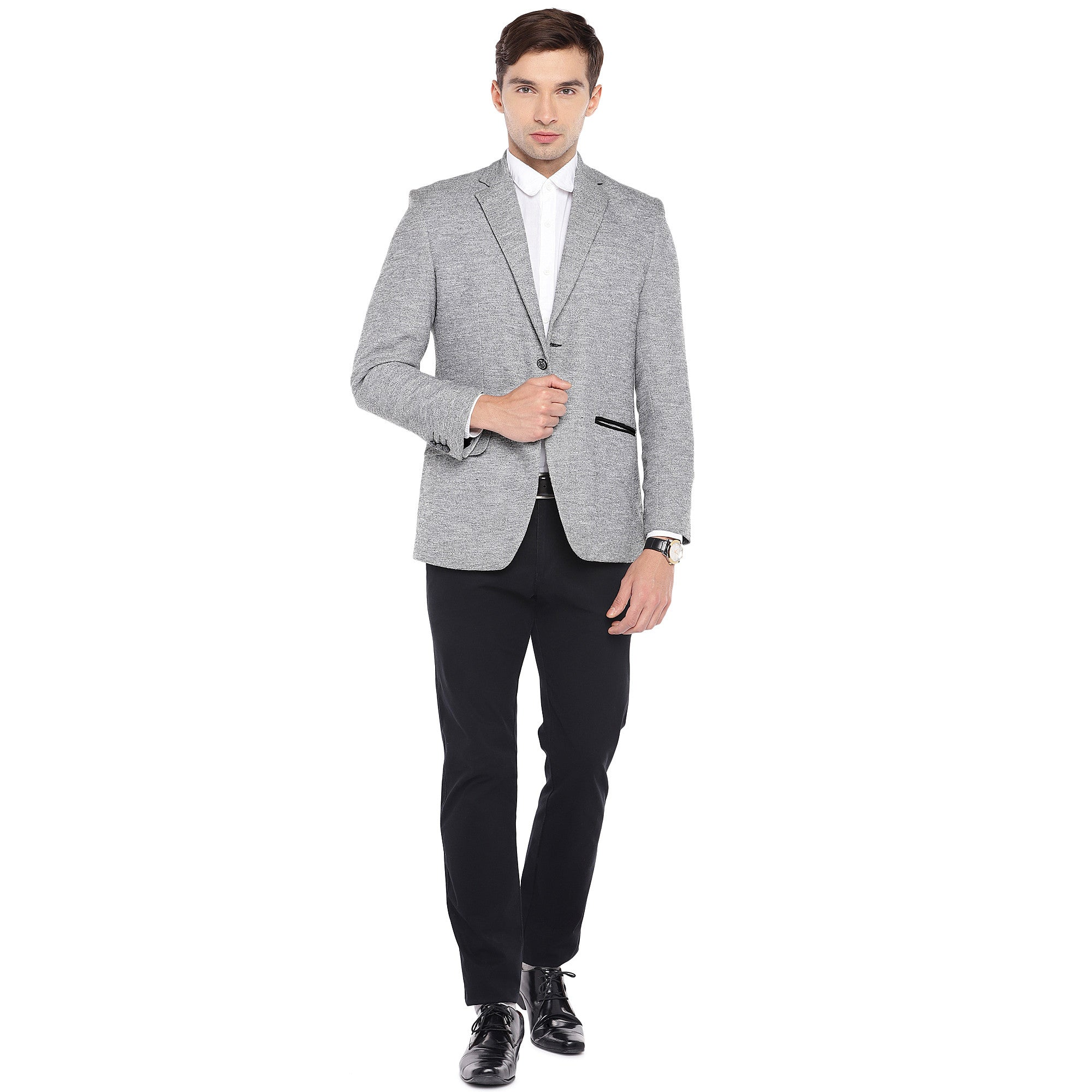Grey Regular Fit Solid Casual Blazer-4