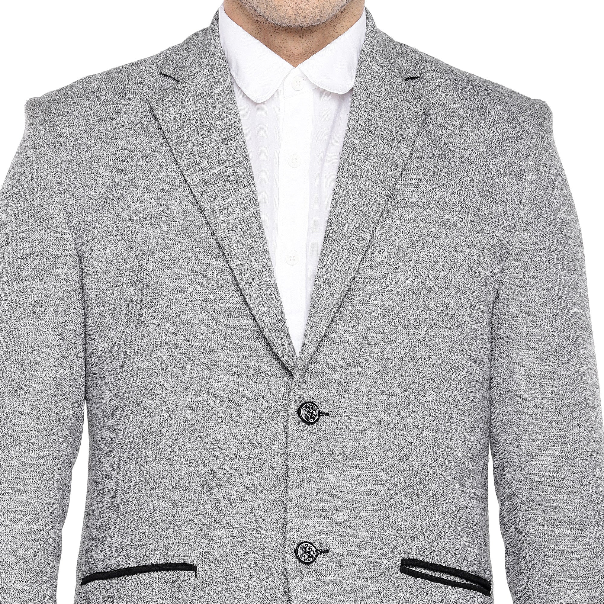 Grey Regular Fit Solid Casual Blazer-5