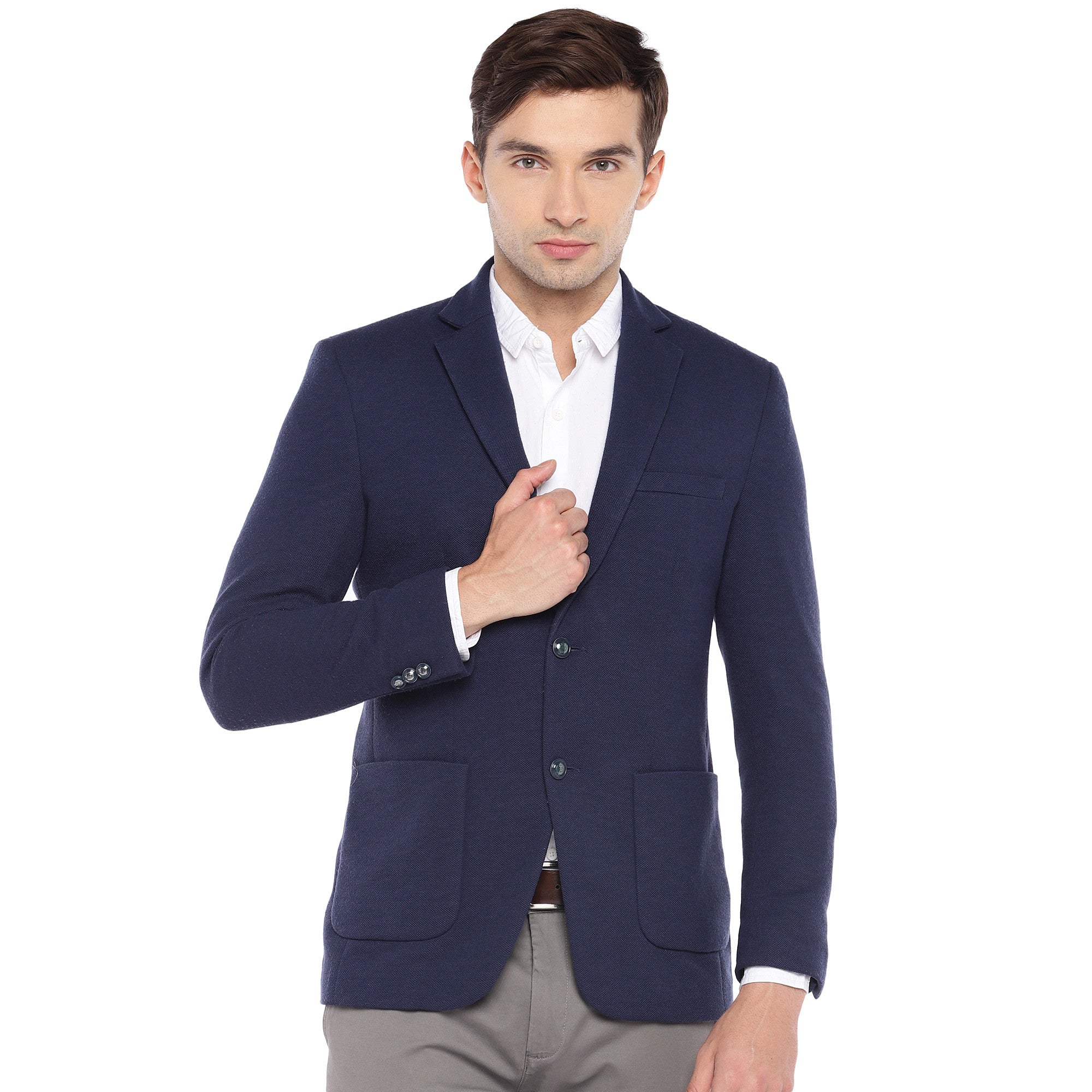 Navy Blue Regular Fit Solid Casual Blazer-1