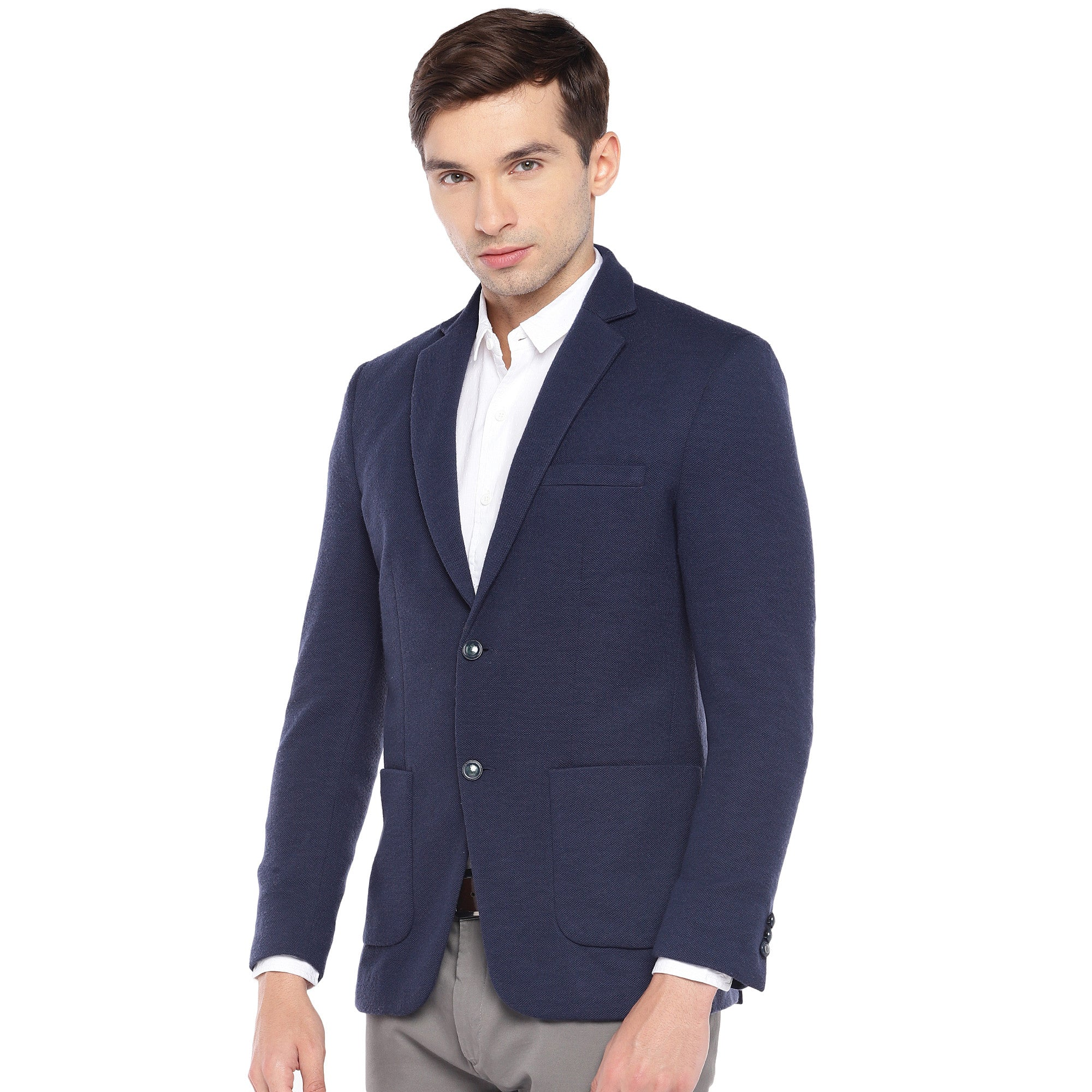 Navy Blue Regular Fit Solid Casual Blazer-2
