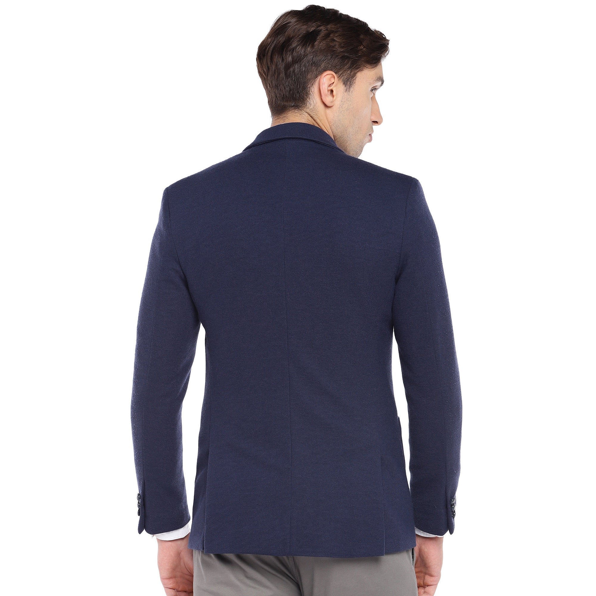 Navy Blue Regular Fit Solid Casual Blazer-3