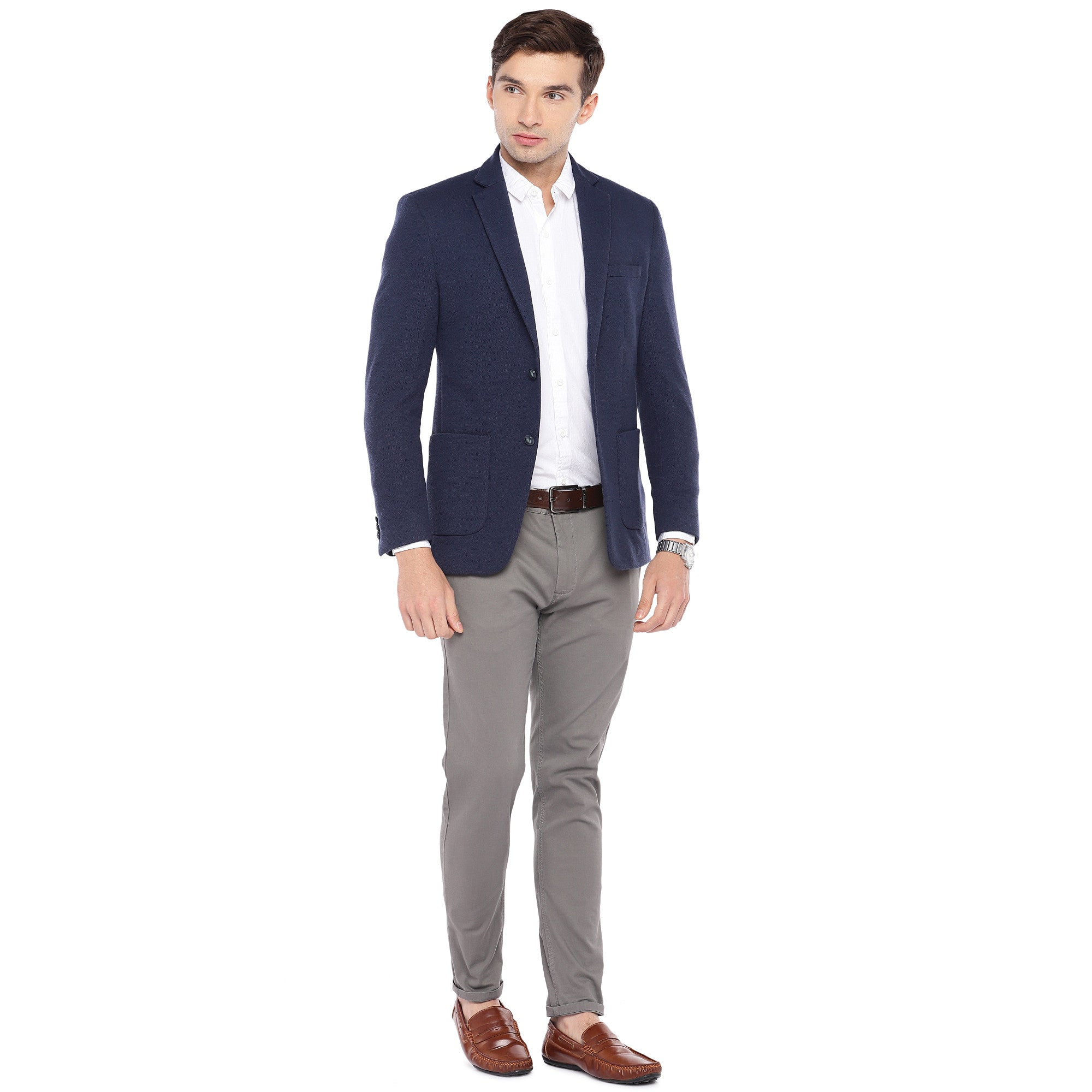 Navy Blue Regular Fit Solid Casual Blazer-4