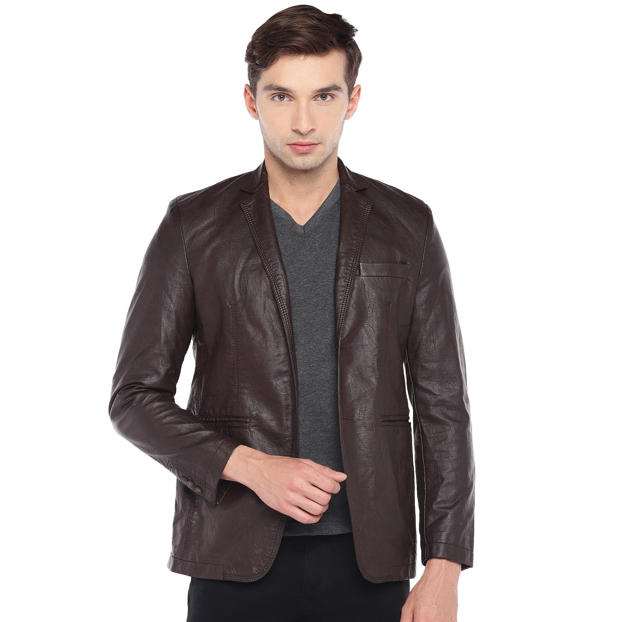 Brown Regular Fit Solid Casual Blazer-1