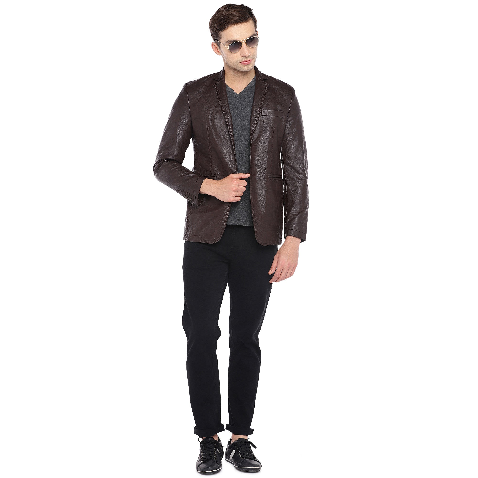 Brown Regular Fit Solid Casual Blazer-4