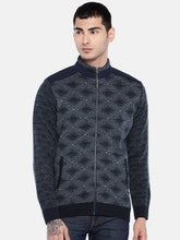 Load image into Gallery viewer, Navy Blue Self Design Bomber-1