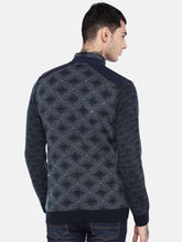 Load image into Gallery viewer, Navy Blue Self Design Bomber-3