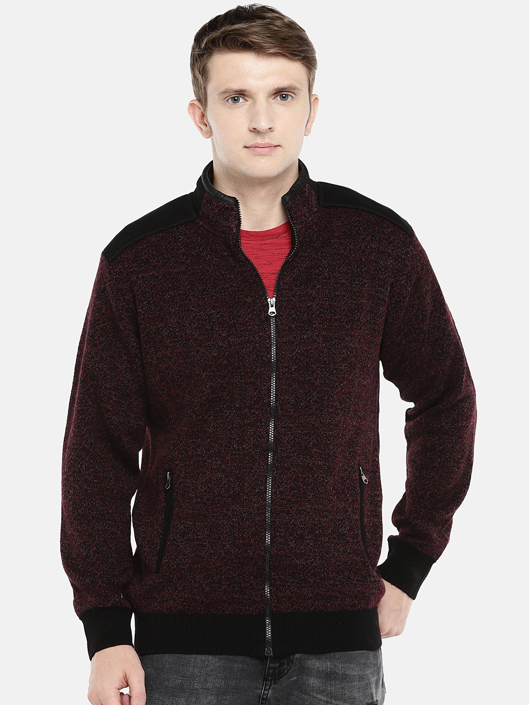 Maroon Self Design Tailored Jacket-1
