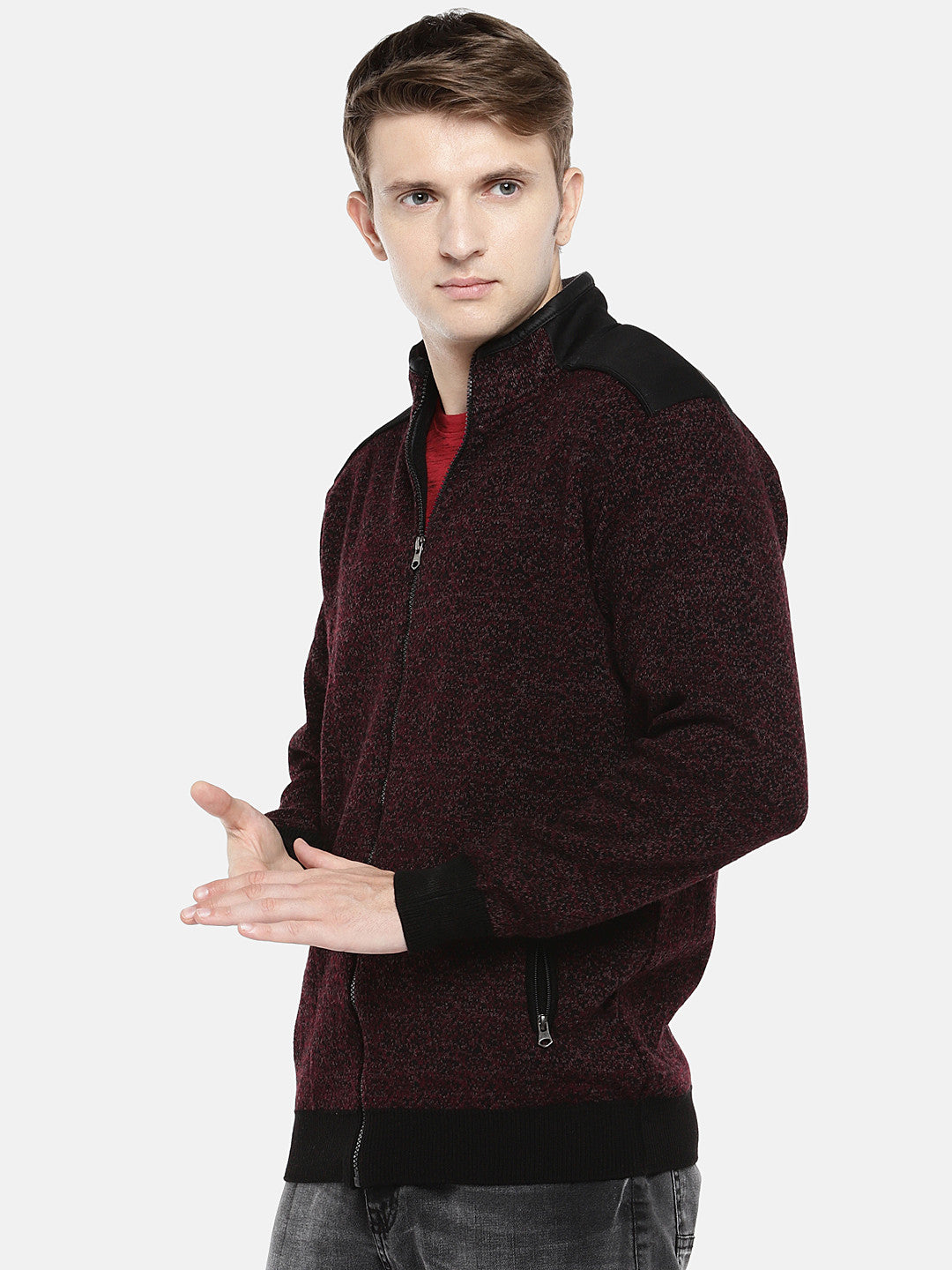 Maroon Self Design Tailored Jacket-2