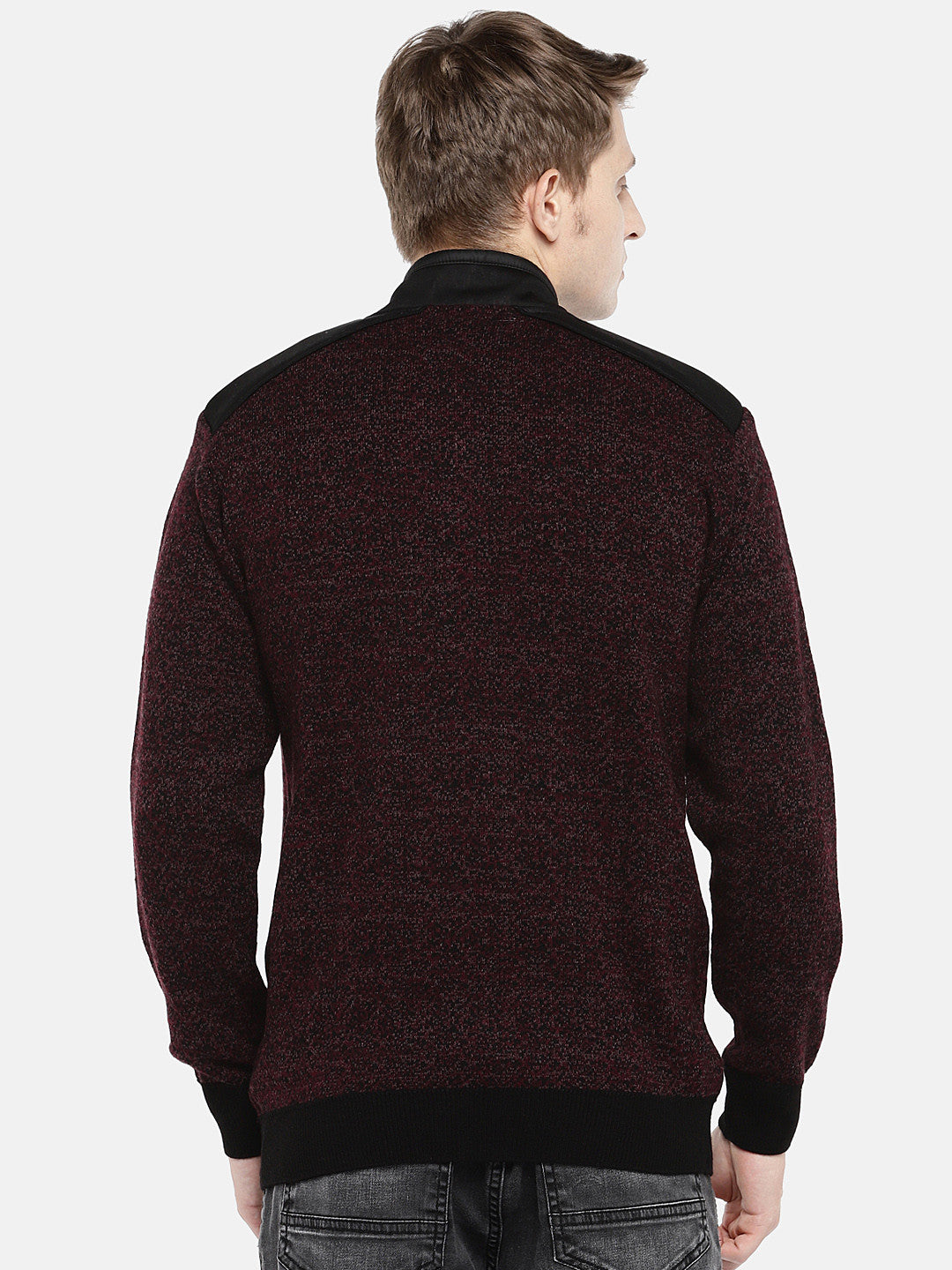 Maroon Self Design Tailored Jacket-3