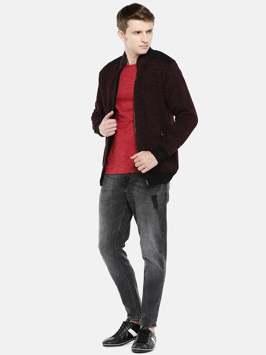 Maroon Self Design Tailored Jacket-4