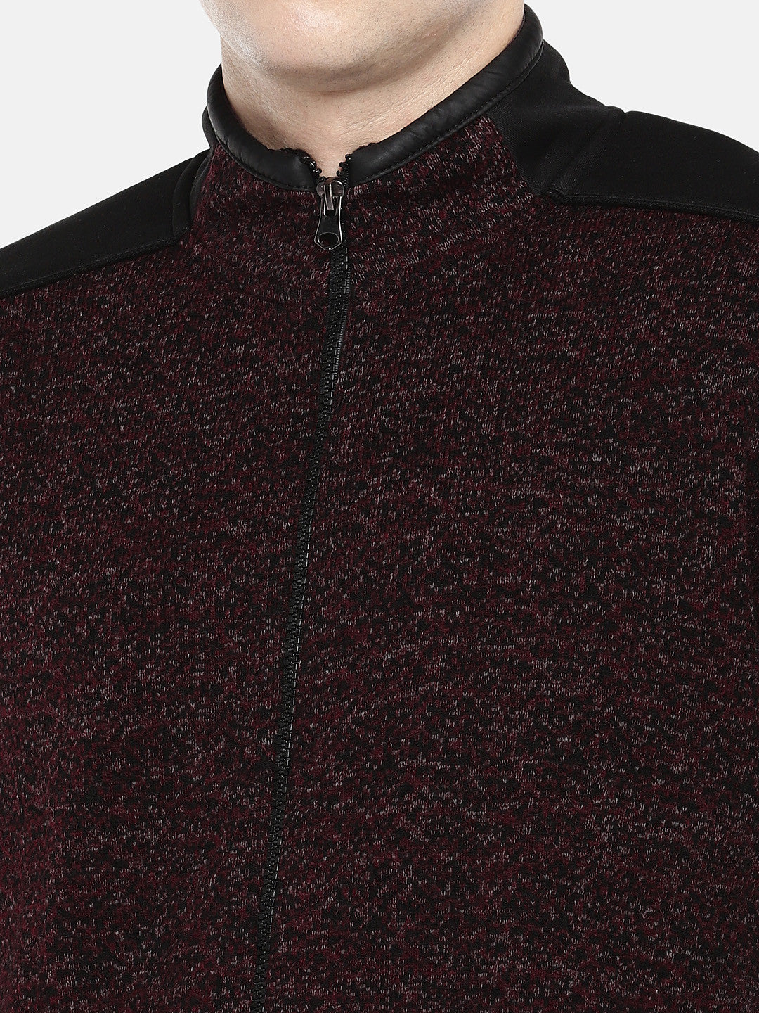 Maroon Self Design Tailored Jacket-5