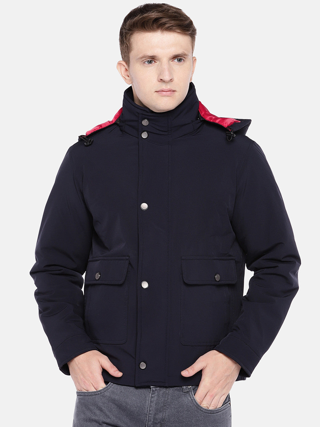Navy Blue Solid Sporty Jacket-1