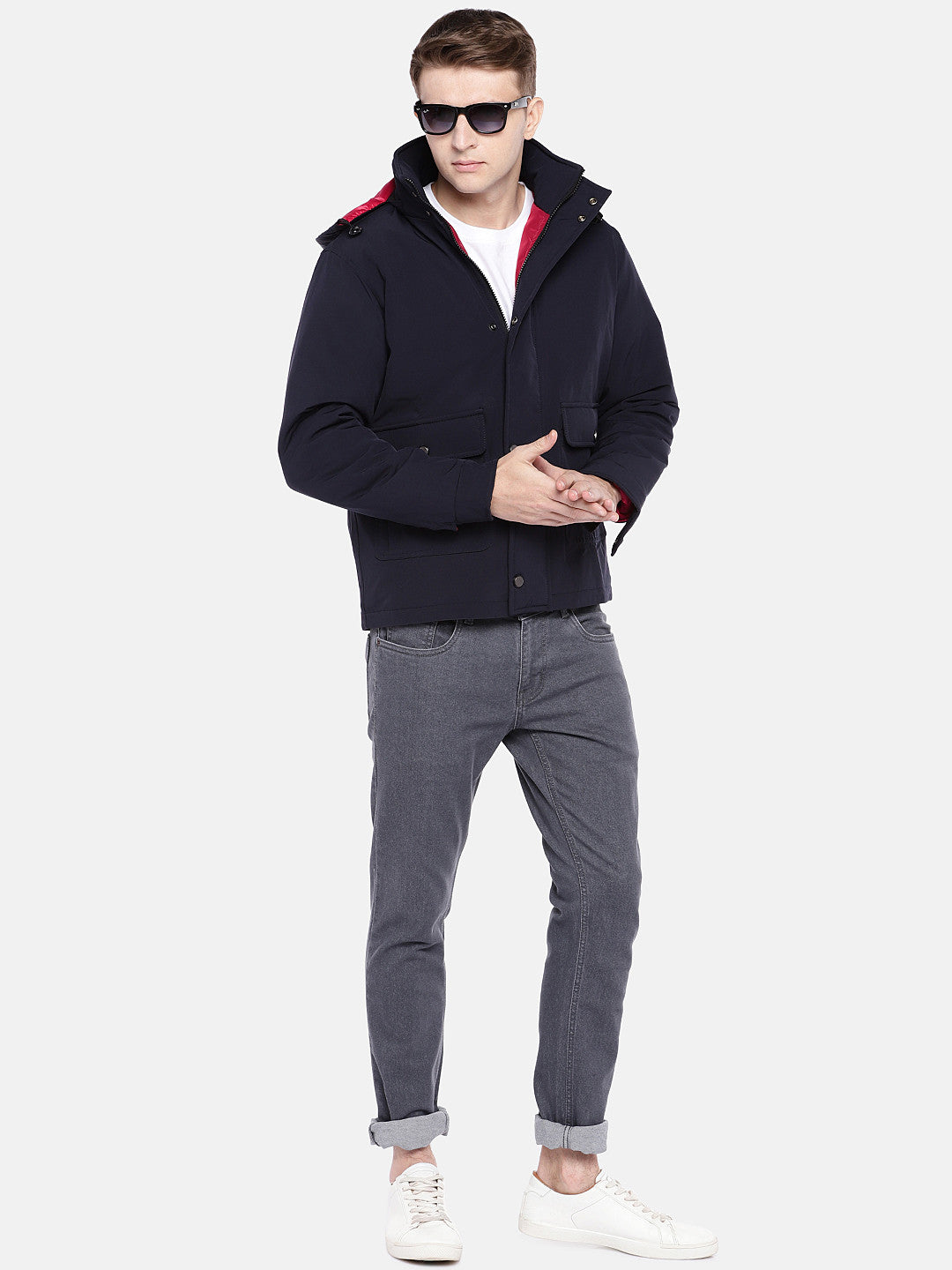 Navy Blue Solid Sporty Jacket-4
