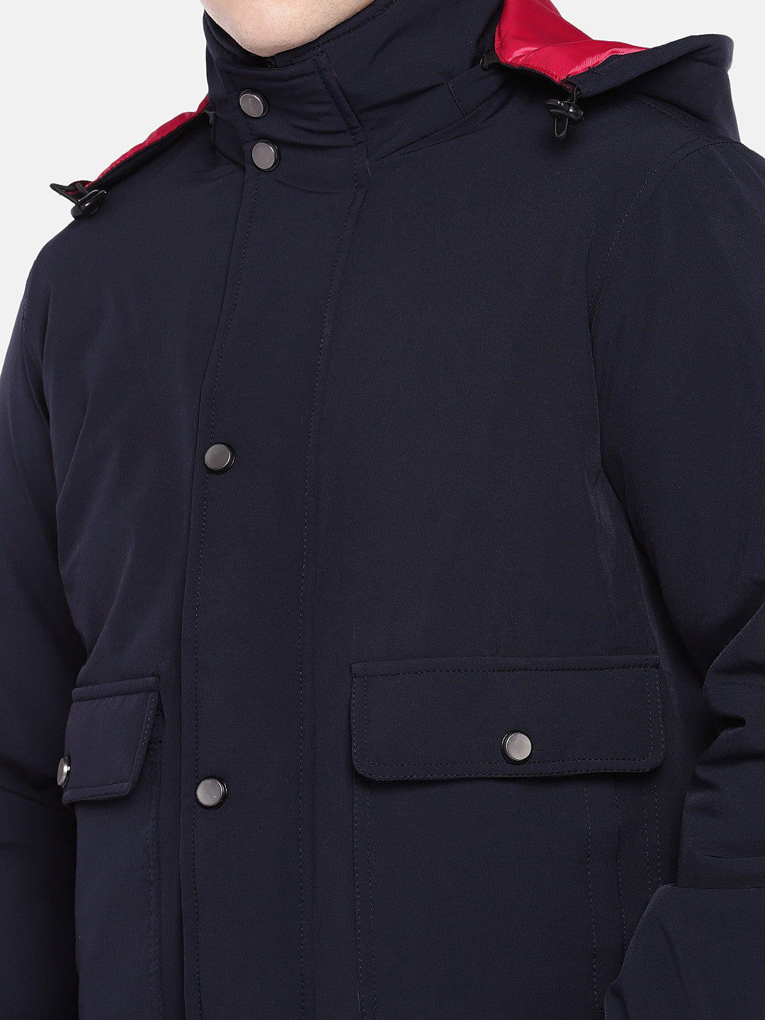Navy Blue Solid Sporty Jacket-5