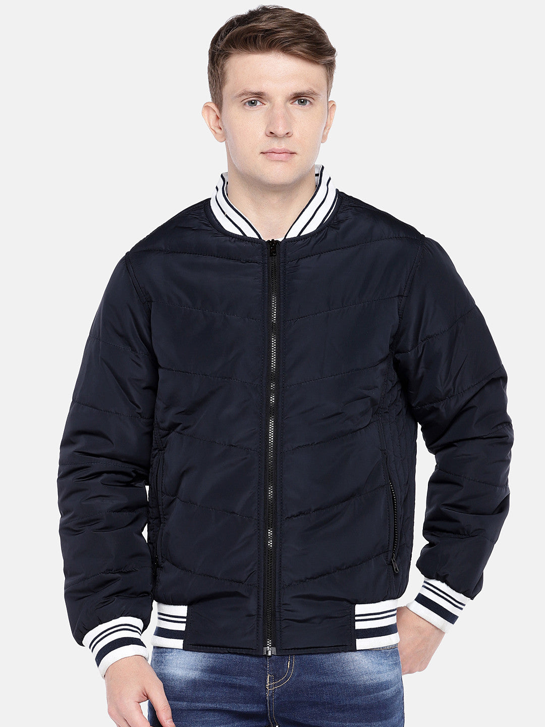 Navy Blue Solid Bomber-1