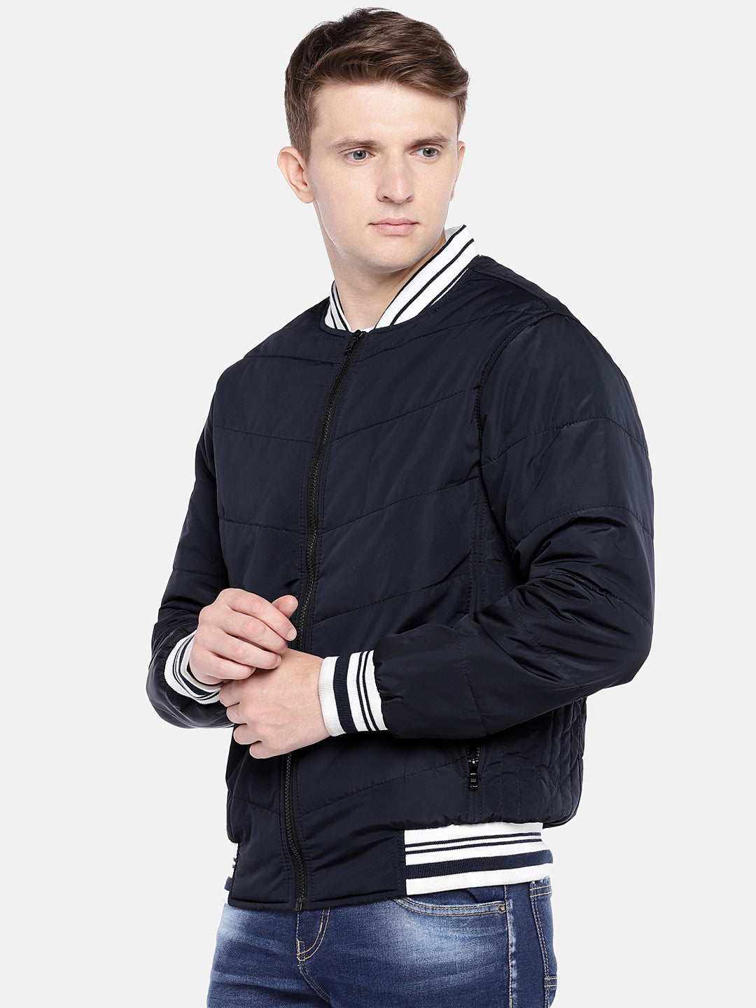 Navy Blue Solid Bomber-2