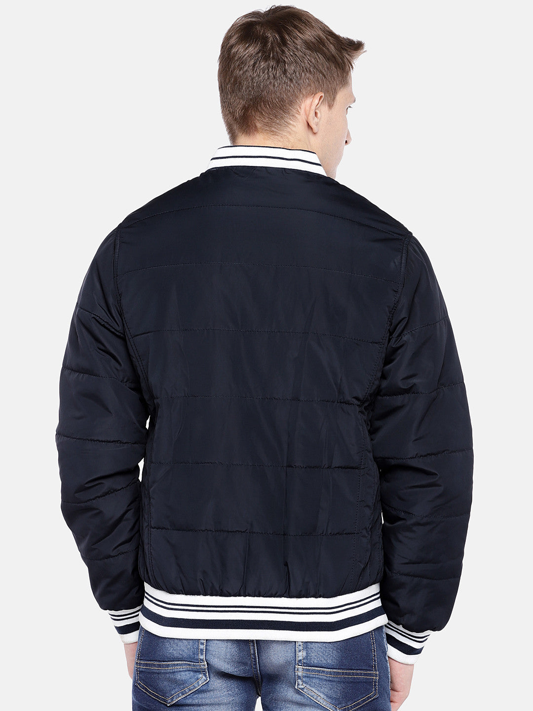 Navy Blue Solid Bomber-3
