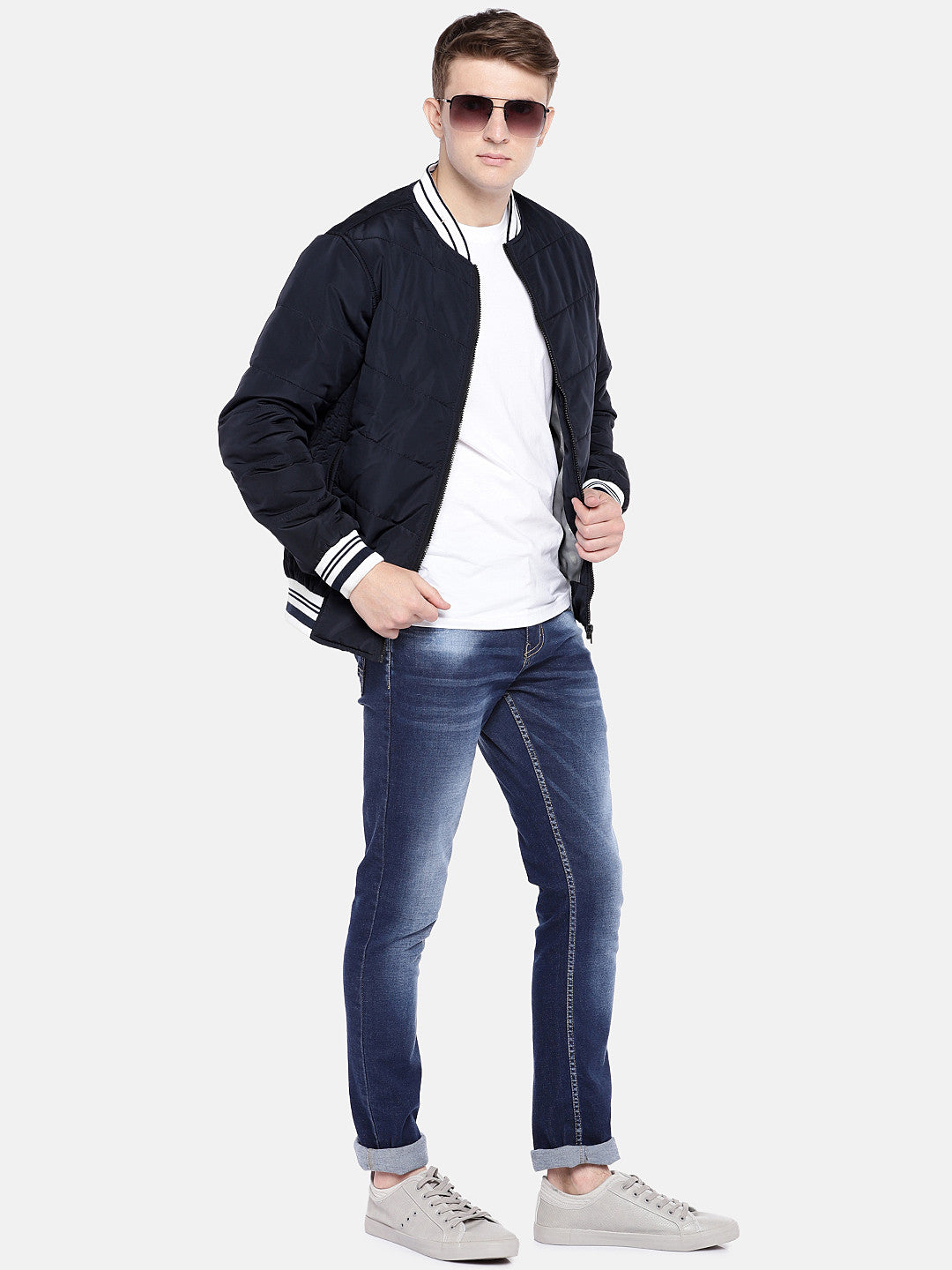 Navy Blue Solid Bomber-4