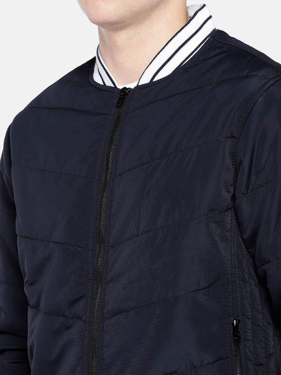 Navy Blue Solid Bomber-5