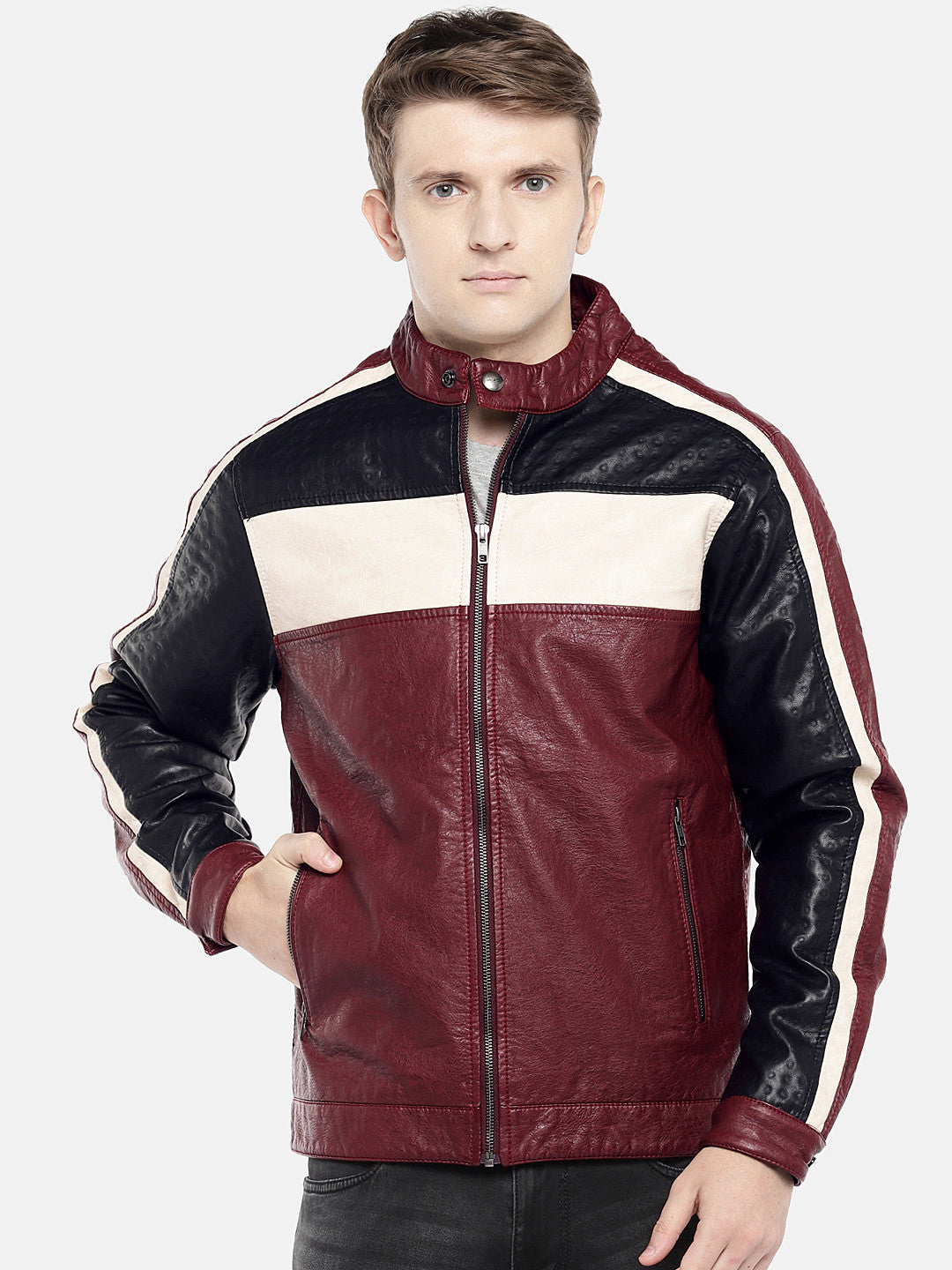 Red Colourblocked Biker Jacket-1