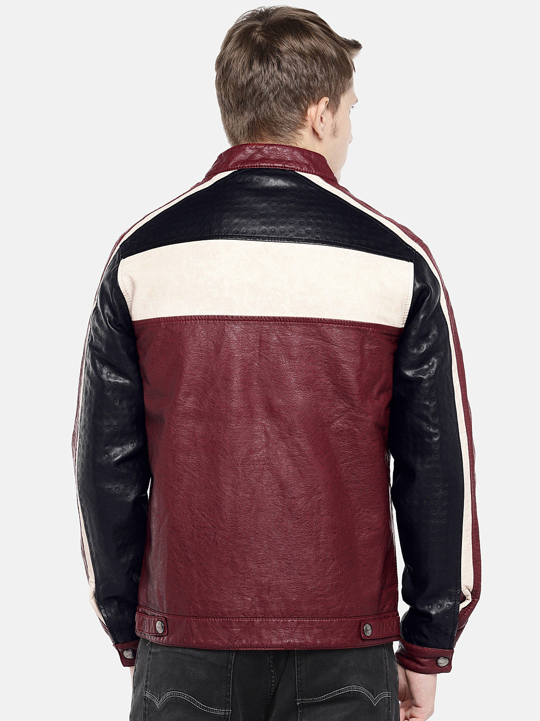 Red Colourblocked Biker Jacket-3