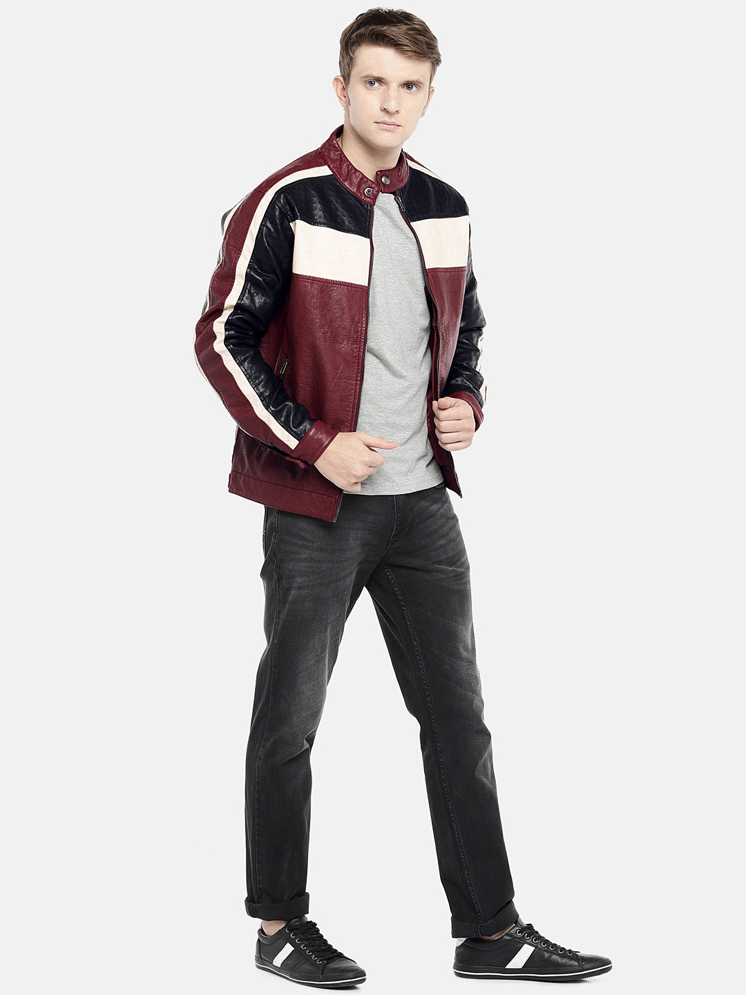 Red Colourblocked Biker Jacket-4