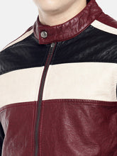 Load image into Gallery viewer, Red Colourblocked Biker Jacket-5