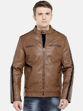 Load image into Gallery viewer, Brown Solid Biker Jacket-1