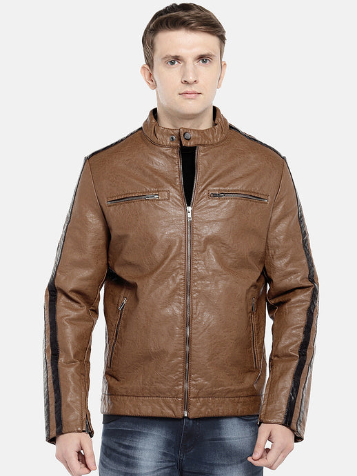 Brown Solid Biker Jacket-1