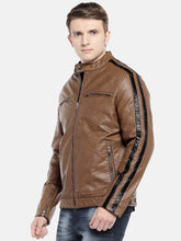 Load image into Gallery viewer, Brown Solid Biker Jacket-2