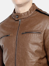Load image into Gallery viewer, Brown Solid Biker Jacket-5