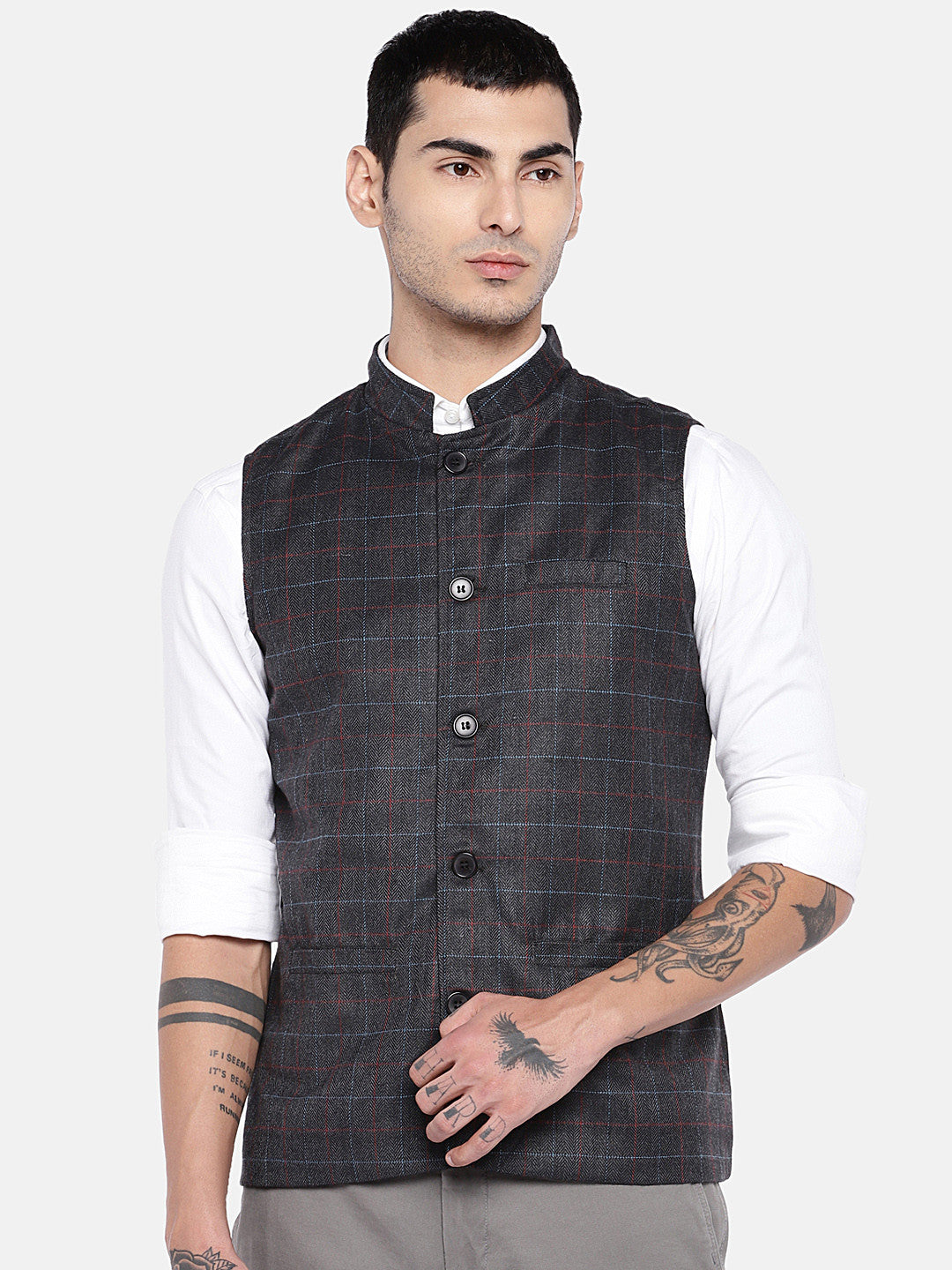 Grey Checked Nehru Jacket-1