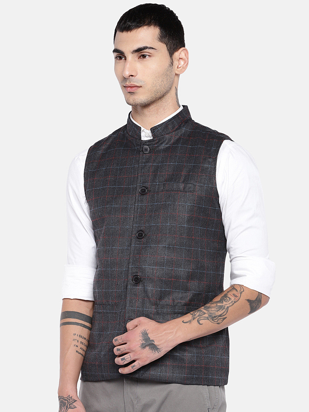 Grey Checked Nehru Jacket-2