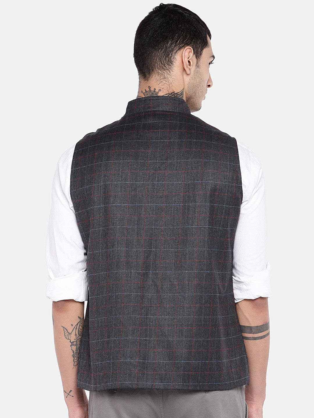 Grey Checked Nehru Jacket-3