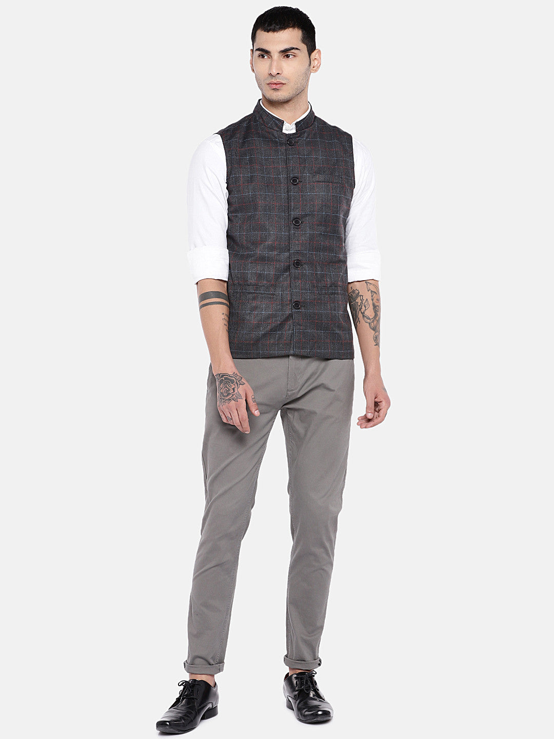 Grey Checked Nehru Jacket-4