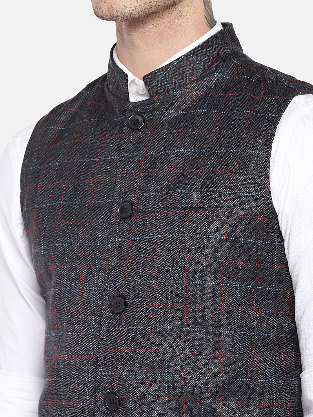 Grey Checked Nehru Jacket-5