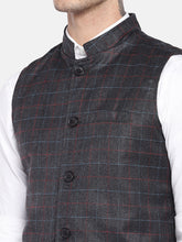Load image into Gallery viewer, Grey Checked Nehru Jacket-5