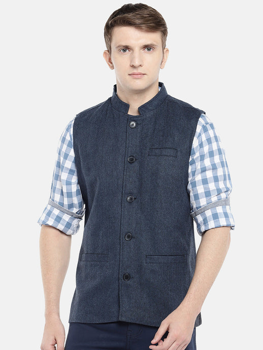 Blue Solid Nehru Jacket-1