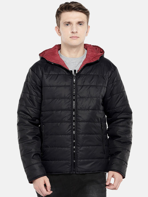 Black Solid Puffer Jacket-1