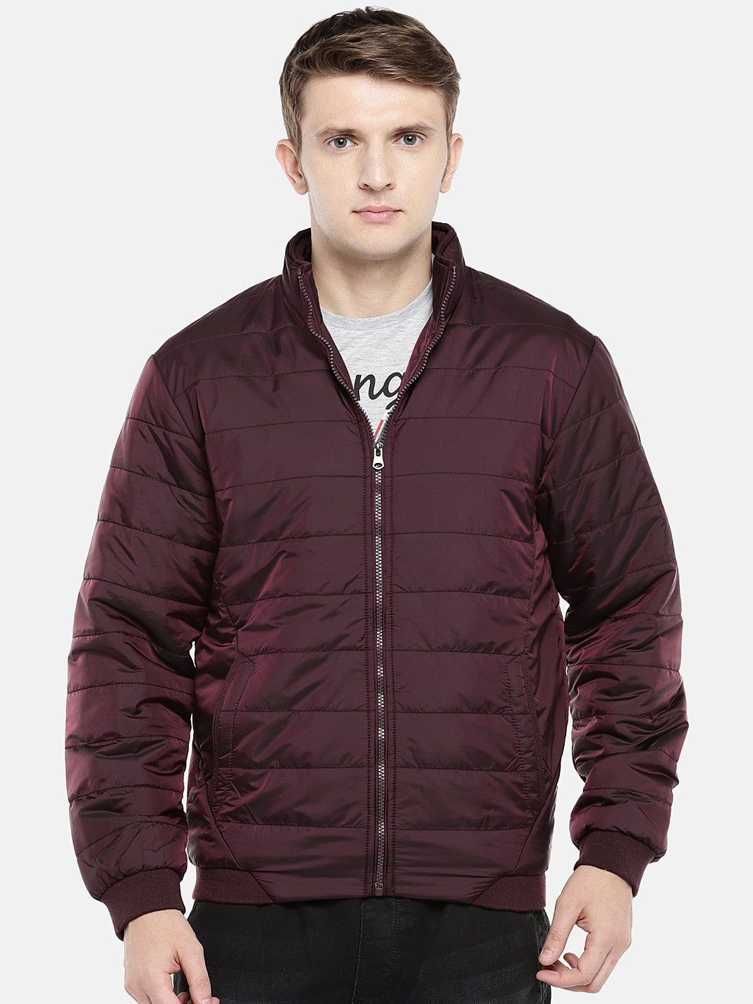 Red Solid Puffer Jacket-1