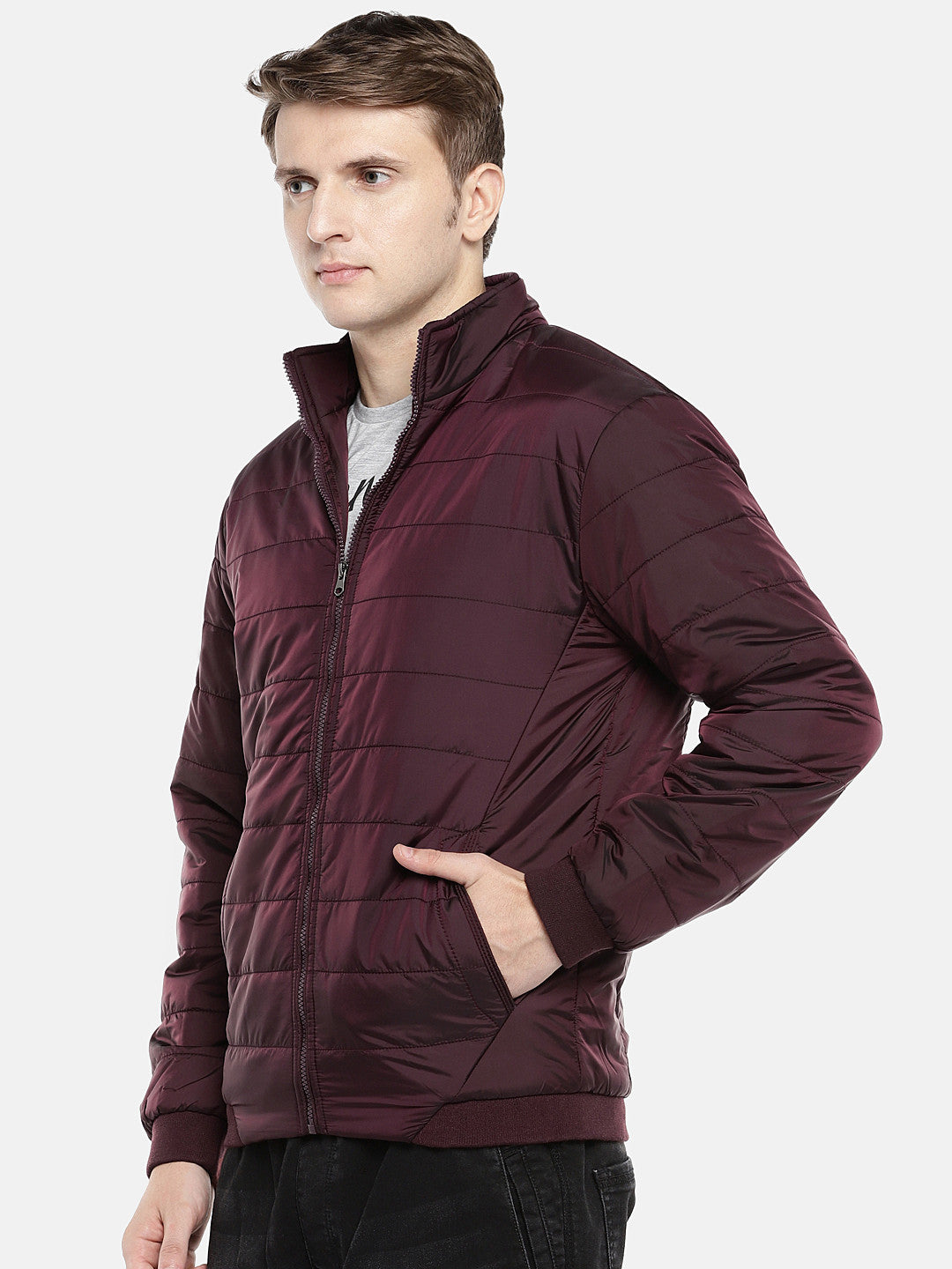 Red Solid Puffer Jacket-2
