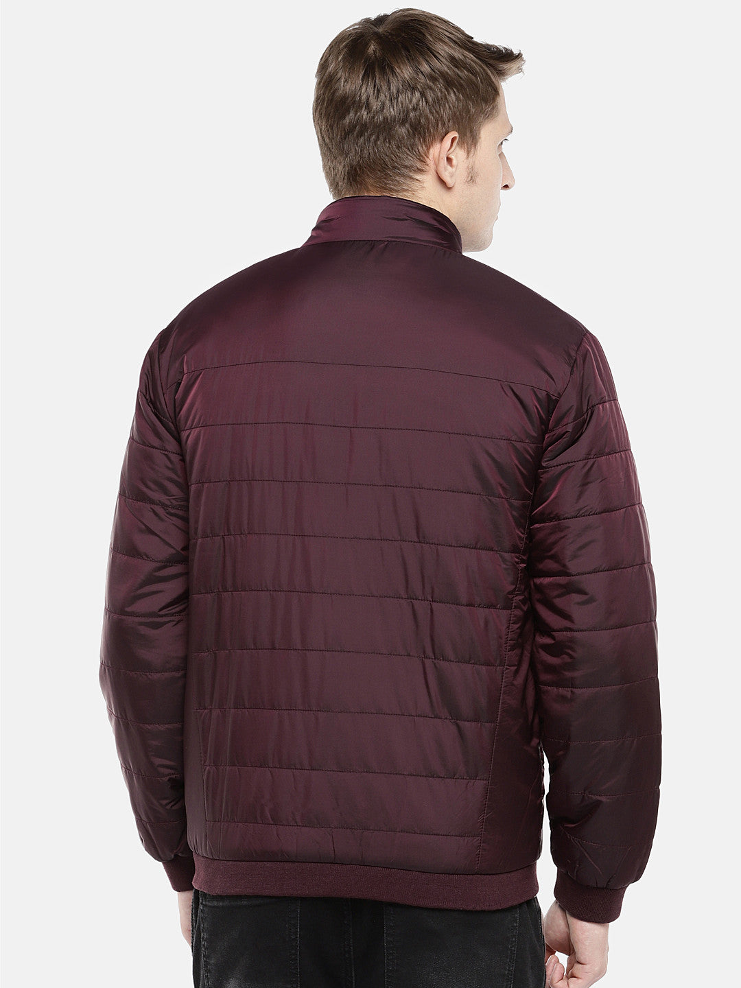 Red Solid Puffer Jacket-3